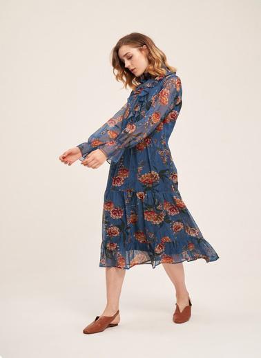 Mizalle Önü Fırfırlı Çiçekli Elbise Mavi